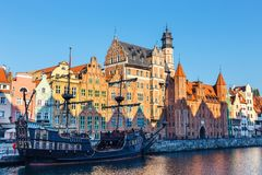 Embankment of Motlawa river in historical part of Gdansk, Poland stock images