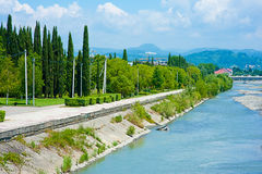 Embankment Mzymta river in Sochi Stock Image