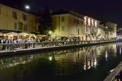 Embankment at Naviglio Grande at night , Milan, Italy Stock Photos