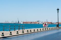 Embankment near the cargo port, a walk through the port royalty free stock photo