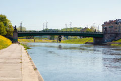 Embankment of Neris river in Vilnius, Lithuania Stock Photography