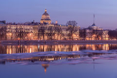 Embankment of Neva River and the Admiralty, St. Petersburg Royalty Free Stock Image