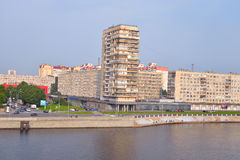 Embankment of Neva River at cloud spring day. Stock Image