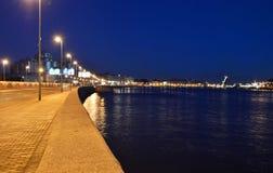 Embankment of Neva river at night Royalty Free Stock Photo