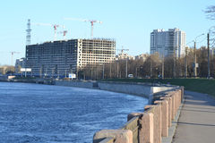 Embankment of Neva River, outskirts of St.Petersburg. Stock Photo