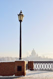 Embankment of the Neva River and St. Isaac's Cathedral in strong frost Royalty Free Stock Images