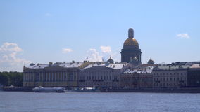 Embankment of the Neva River in St. Petersburg stock video footage
