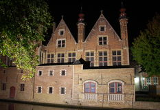 Embankment at night in Bruges Stock Image