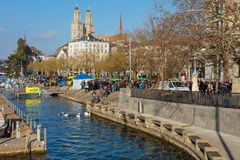 Embankment Of The Limmat River During The Zurich Samichlaus-Schwimmen Swimming Event Royalty Free Stock Photo