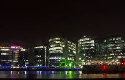 Embankment with Office Buildings at night, London, England Stock Photography
