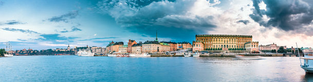Embankment In Old Part Of Stockholm At Summer Evening, Sweden. Stock Photography
