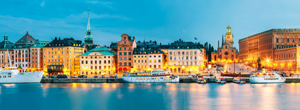 Embankment In Old Part Of Stockholm At Summer Evening, Sweden royalty free stock image