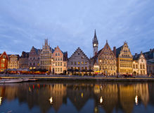 Embankment of old town at night, Ghent Royalty Free Stock Photos