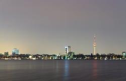 Embankment overlooking the TV Tower. Hamburg, Germany. Royalty Free Stock Photos