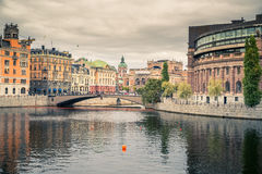Embankment and parliament building in Stockholm. Stock Photography