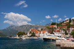 Embankment of Perast town, Bay of Kotor Stock Image