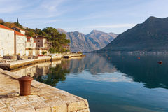 Embankment of Perast town. Montenegro Stock Images