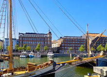Embankment and pier with yachts in old town. Helsinki, Finland Stock Photos