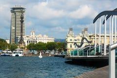 Embankment at Port Vell in Barcelona, Spain Royalty Free Stock Image