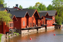 Embankment in Porvoo. Picturesque wooden houses and the river in the town of Porvoo, Finland Stock Image