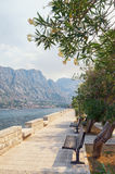Embankment of  Prcanj town. Montenegro Royalty Free Stock Image