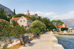 Embankment of  Prcanj town. Montenegro Stock Photo