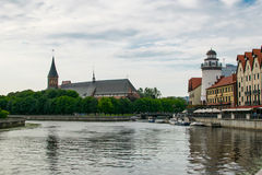 Embankment of the Pregolya river with views of the Cathedral royalty free stock image