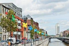 Embankment Quai de Charbonnages in Brussels, Belgium Stock Images
