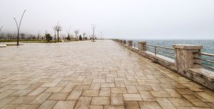 Embankment in rainy day Stock Images