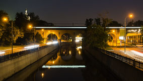 Embankment,  reflection in water , night scene Stock Images