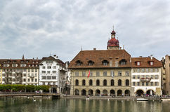Embankment of Reuss river in Lucerne Royalty Free Stock Photos