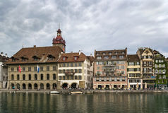 Embankment of Reuss river in Lucerne Royalty Free Stock Images