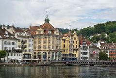 Embankment of Reuss river in Lucerne Stock Photo