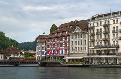 Embankment of Reuss river in Lucerne Royalty Free Stock Photography
