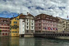 Embankment of Reuss river in Lucerne Stock Photography