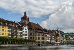 Embankment of Reuss river in Lucerne Royalty Free Stock Image