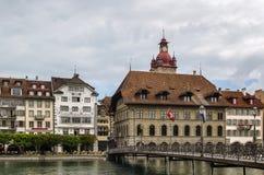 Embankment of Reuss river in Lucerne Stock Photos
