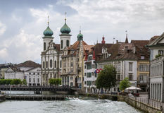 Embankment of Reuss river, Lucerne, Switzerland Stock Image
