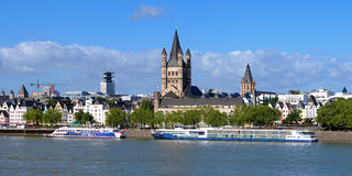 Embankment of Rhine river in Cologne, Germany Stock Photos