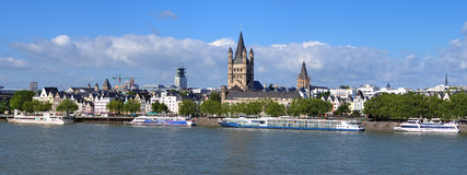 Embankment of Rhine river in Cologne, Germany Royalty Free Stock Photography