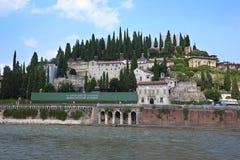 Embankment of river Adige in Verina Stock Photography