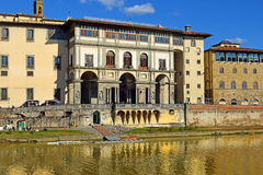 Embankment of the river Arno, Florence, Italy. Embankment of the Arno River near the Ponte Vecchio and Uffizi Gallery, Florence, Italy Royalty Free Stock Photo