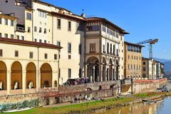 Embankment of the river Arno, Florence, Italy. Embankment of the Arno River near the Ponte Vecchio and Uffizi Gallery, Florence, Italy Stock Image