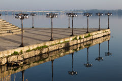 Embankment on the River Dnepr with forged lights. Dnepropetrovsk Royalty Free Stock Images