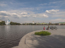 Embankment of the river Iset. Yekaterinburg city. Sverdlovsk reg Stock Image