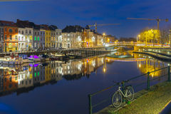 Embankment of the river Leie in Ghent town at Stock Image