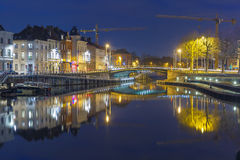 Embankment of the river Leie in Ghent town at Royalty Free Stock Images