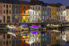 Embankment of the river Leie in Ghent town at Stock Photos