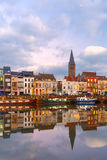 Embankment of the river Leie in Ghent town at Royalty Free Stock Photos