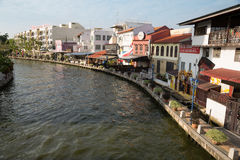 Embankment of the river in Malacca, Malaysia Stock Photos